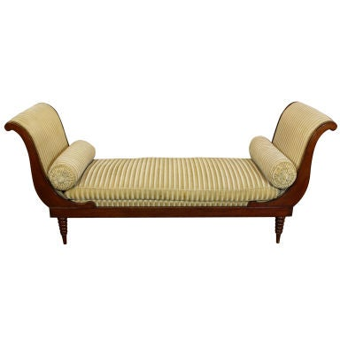 French Directoire Style Mahogany Recamier or Day Bed