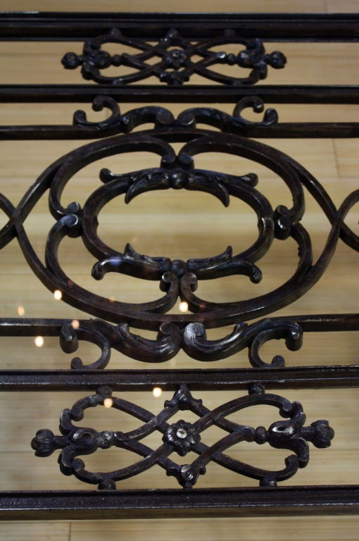 French Wrought Iron and Glass Top Coffee Table For Sale 7