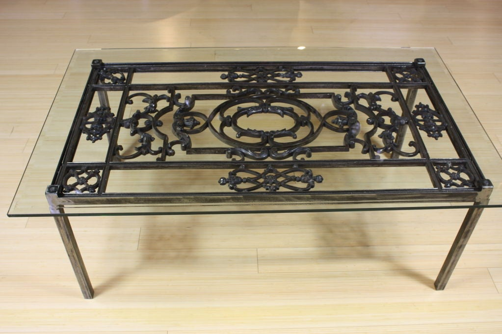 French wrought iron and glass top coffee table for sale at for Oval wrought iron coffee table with glass top