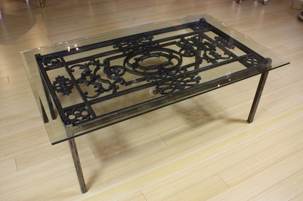 French Wrought Iron And Glass Top Coffee Table For Sale At 1stdibs