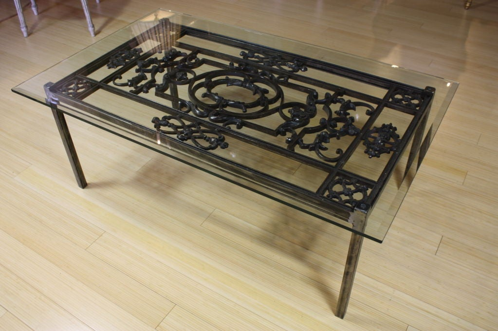 French wrought iron and glass top coffee table at 1stdibs for Iron and glass coffee table
