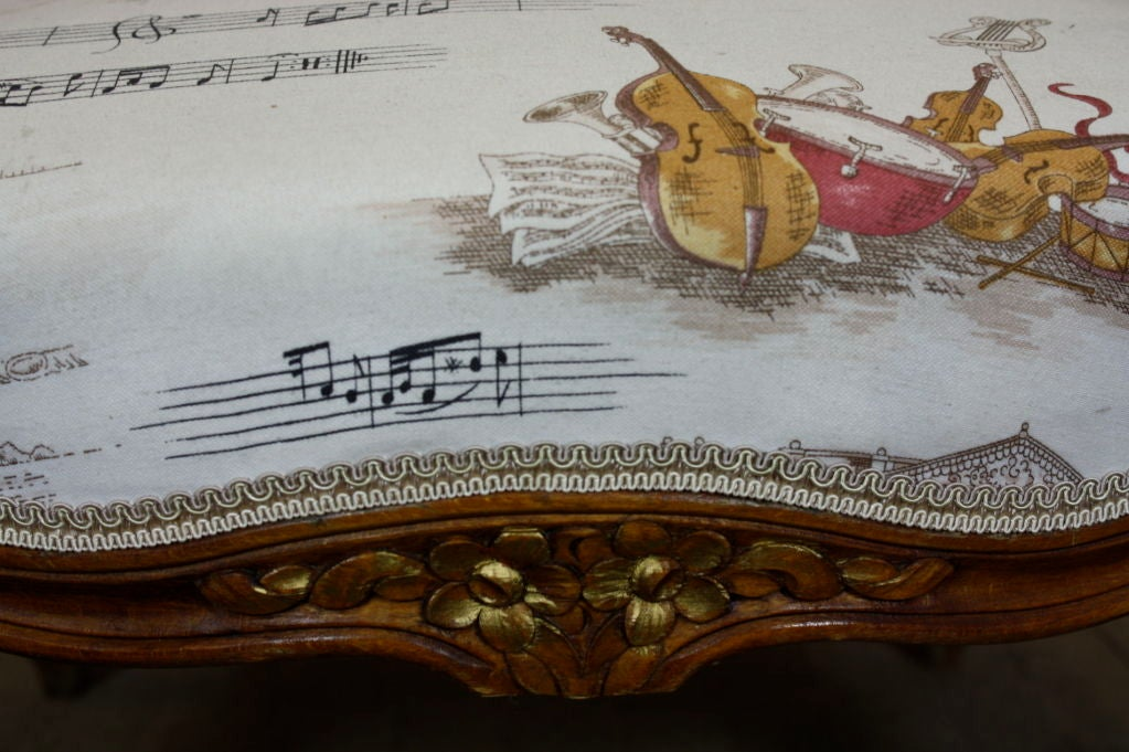Pair of French Louis XV Style Fauteuils with Mozart and Music Themed Toile For Sale 4