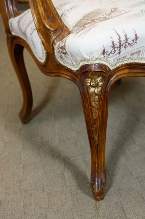 Pair of French Louis XV Style Fauteuils with Mozart and Music Themed Toile For Sale 1