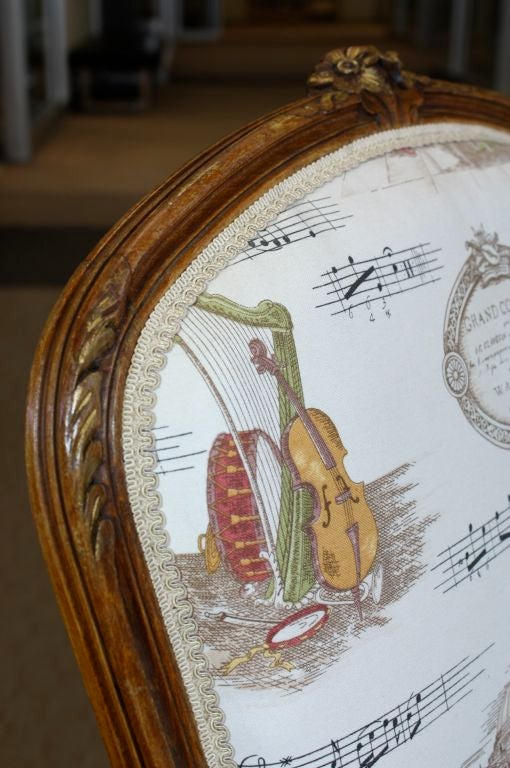 Pair of French Louis XV Style Fauteuils with Mozart and Music Themed Toile For Sale 2
