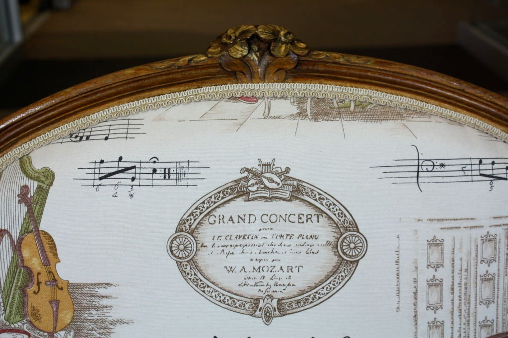 Pair of French Louis XV Style Fauteuils with Mozart and Music Themed Toile For Sale 3