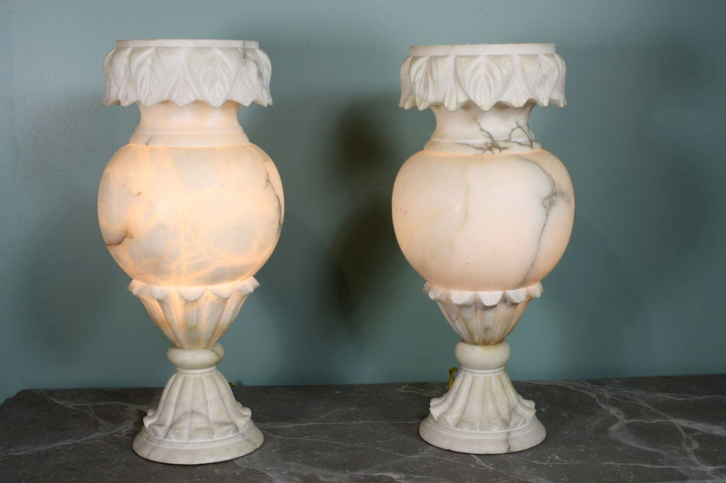 Art Deco Pair of Large French Carved Alabaster Lamps For Sale