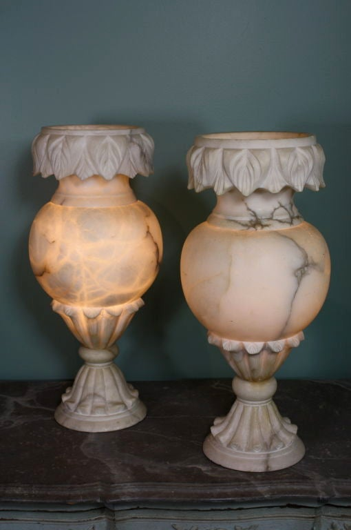 Pair of Large French Carved Alabaster Lamps In Good Condition For Sale In Pembroke, MA