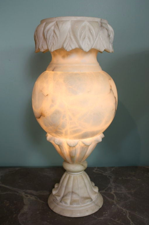 Pair of Large French Carved Alabaster Lamps 5