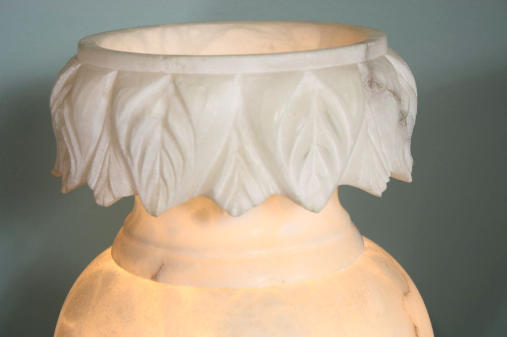 Pair of Large French Carved Alabaster Lamps For Sale 2