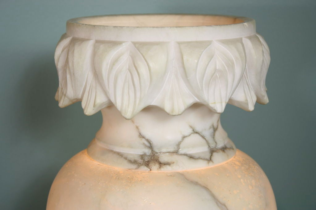 Pair of Large French Carved Alabaster Lamps For Sale 5