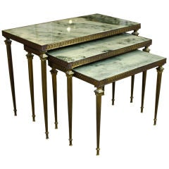 Set of French Neoclassical Nesting Tables with Marble Tops