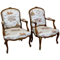 Pair louis xiv style french antique bergere arm chairs antiques of - Pair Of French Scroll Arm Chairs With Rush Seats At 1stdibs
