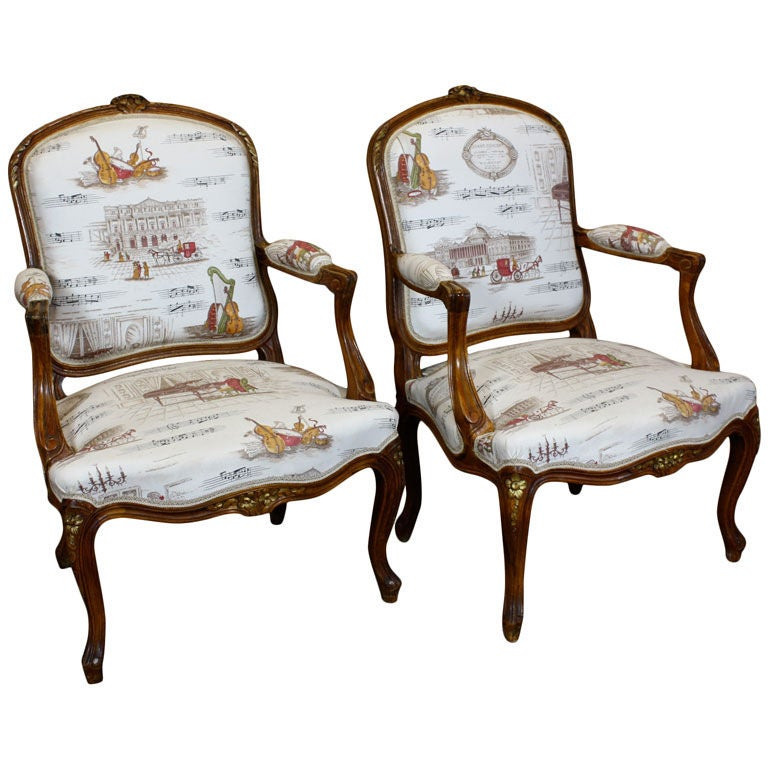 Pair of french louis xv style fauteuils at 1stdibs - Fauteuil style louis xv ...