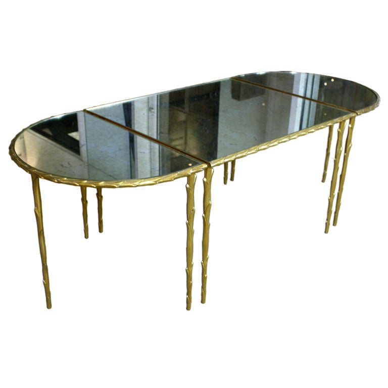 Bagues Gilt Bronze Coffee Table With Mirrored Top At 1stdibs