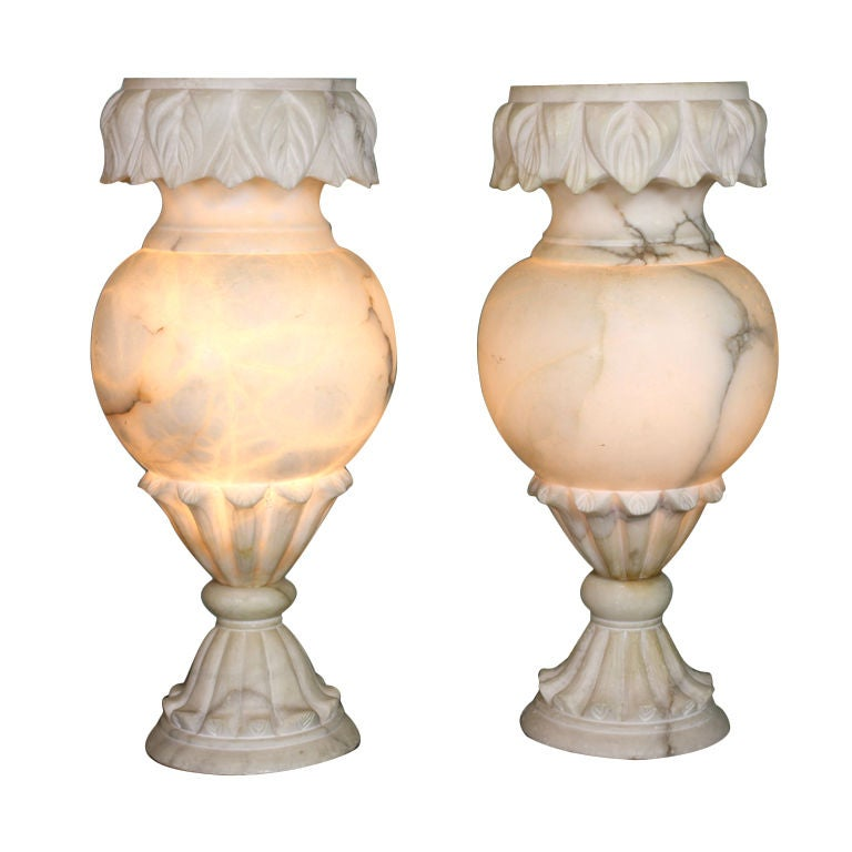 Pair of Large French Carved Alabaster Lamps 1