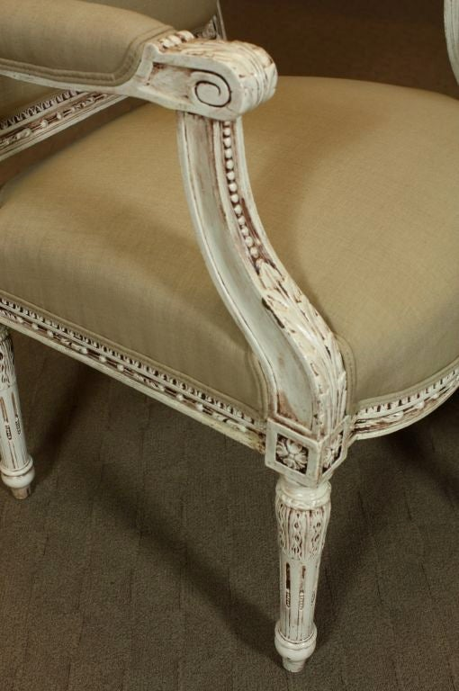 20th Century Pair of French, Louis XVI Style Fauteuils For Sale