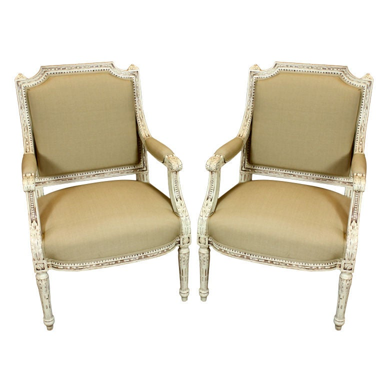 Pair of French, Louis XVI Style Fauteuils For Sale