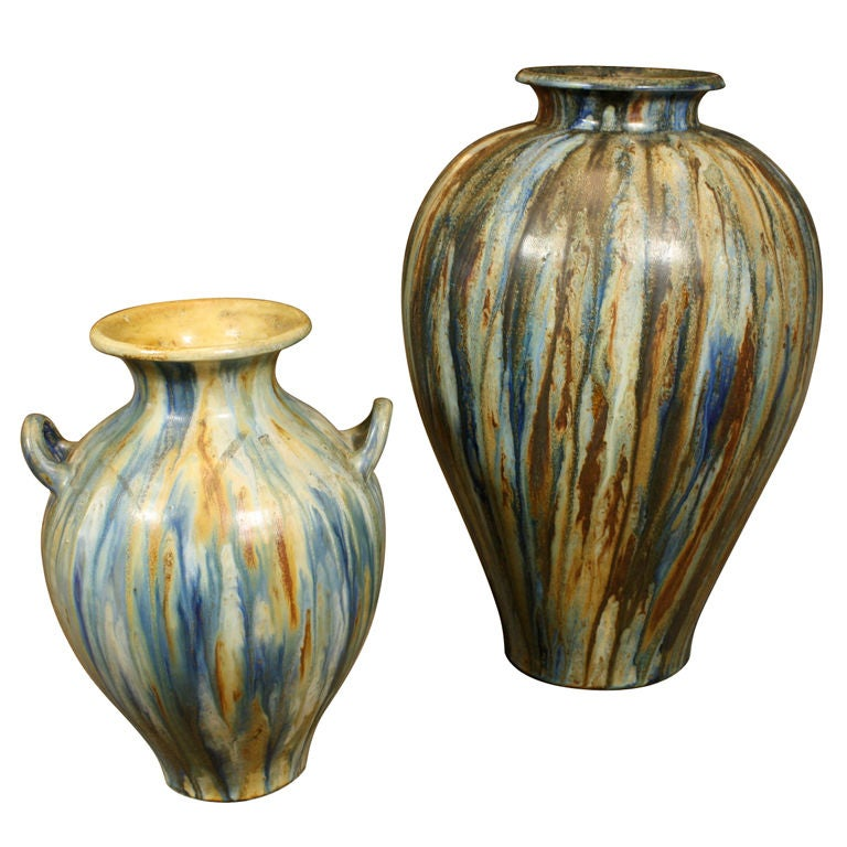 Two Belgian Glazed Pottery Vases By Guerin For Sale At 1stdibs