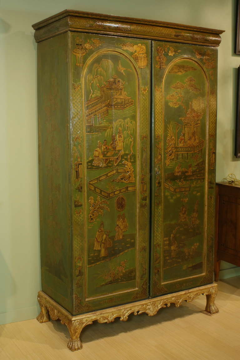 extraordinary english chinoiserie panelled armoire for. Black Bedroom Furniture Sets. Home Design Ideas