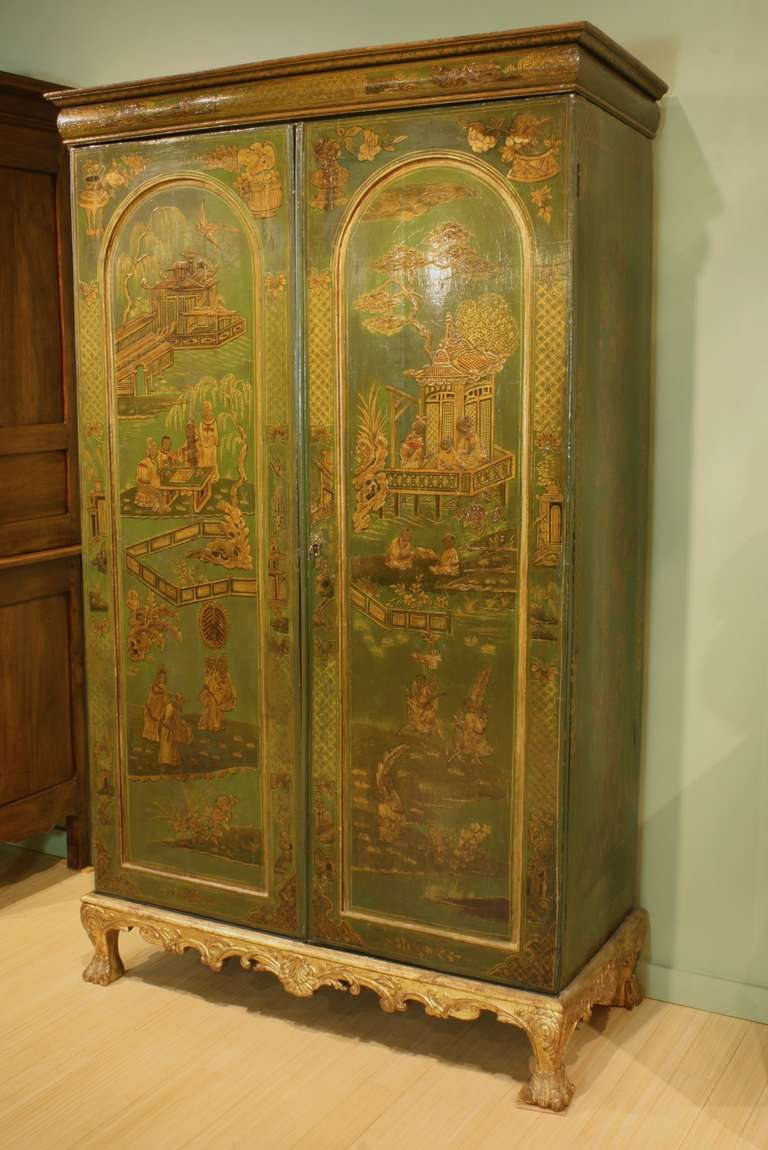 Extraordinary English Chinoiserie Panelled Armoire 3