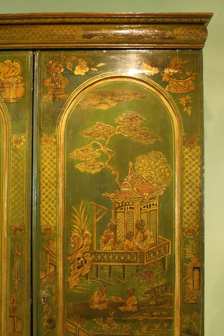 Extraordinary English Chinoiserie Panelled Armoire 5