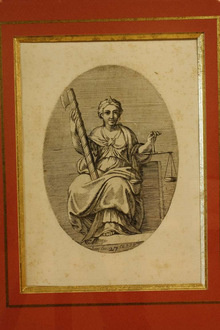 Framed Set Of 18th Century Classical Engravings For Sale