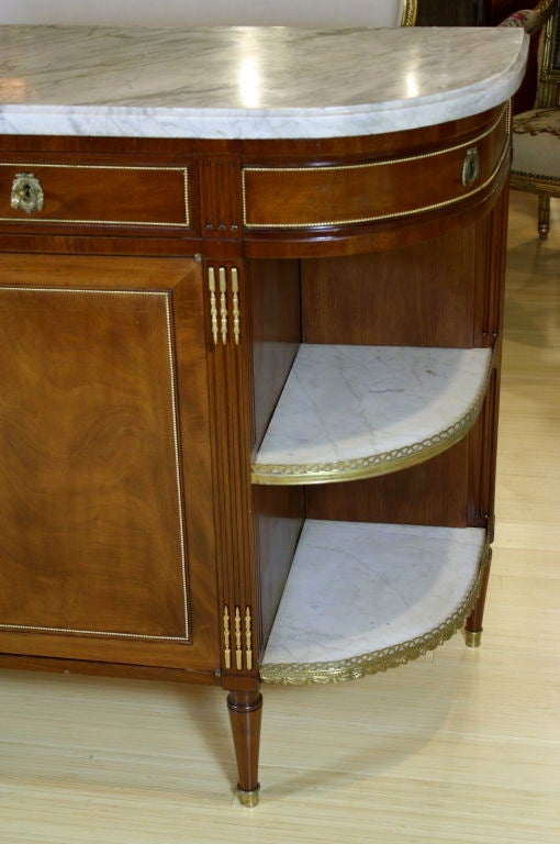 French Louis XVI Style Mahogany Buffet with Grey Marble Top In Good Condition For Sale In Charleston, SC