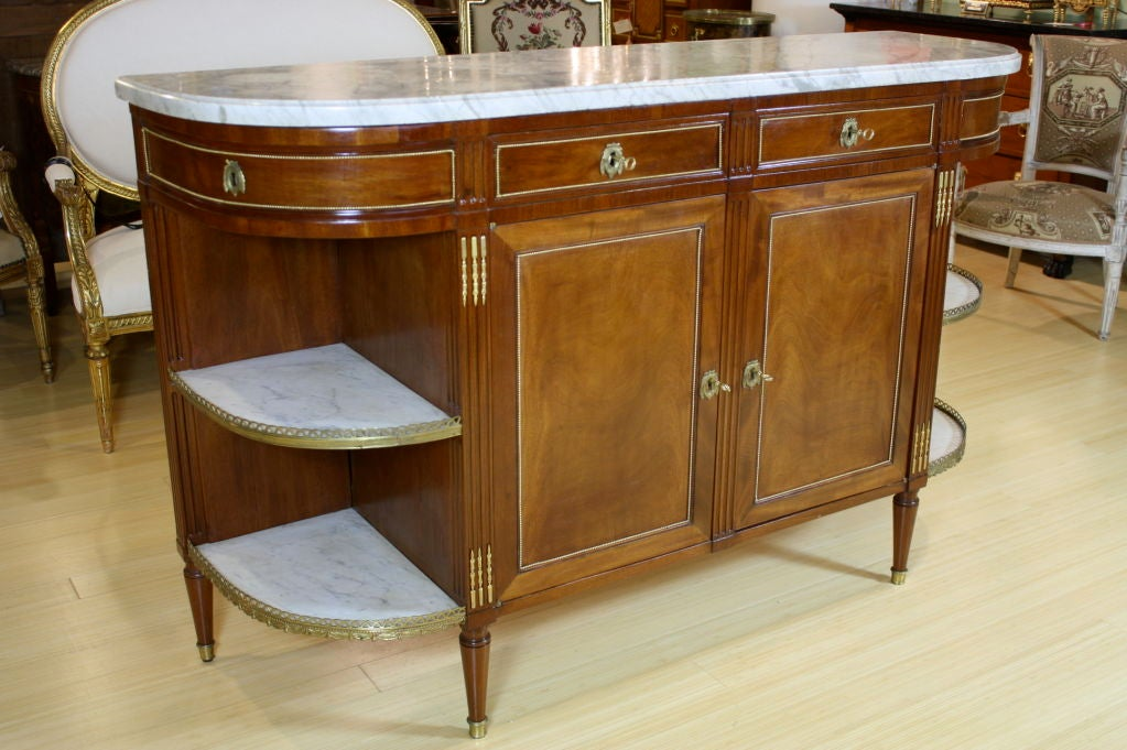19th Century French Louis XVI Style Mahogany Buffet with Grey Marble Top For Sale