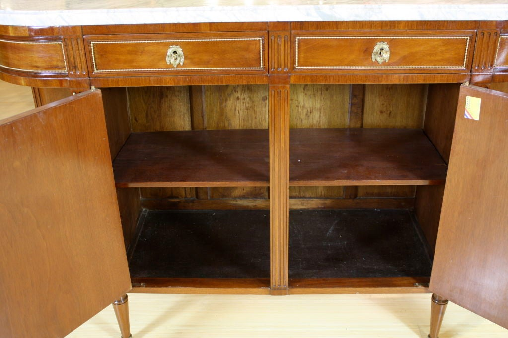 French Louis XVI Style Mahogany Buffet with Grey Marble Top For Sale 1
