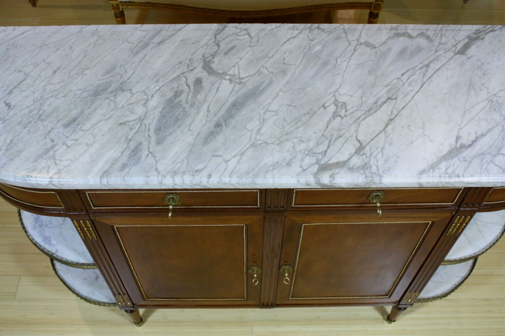 French Louis XVI Style Mahogany Buffet with Grey Marble Top For Sale 5
