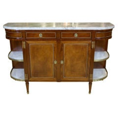 French Mahogany Buffet with Grey Marble Top