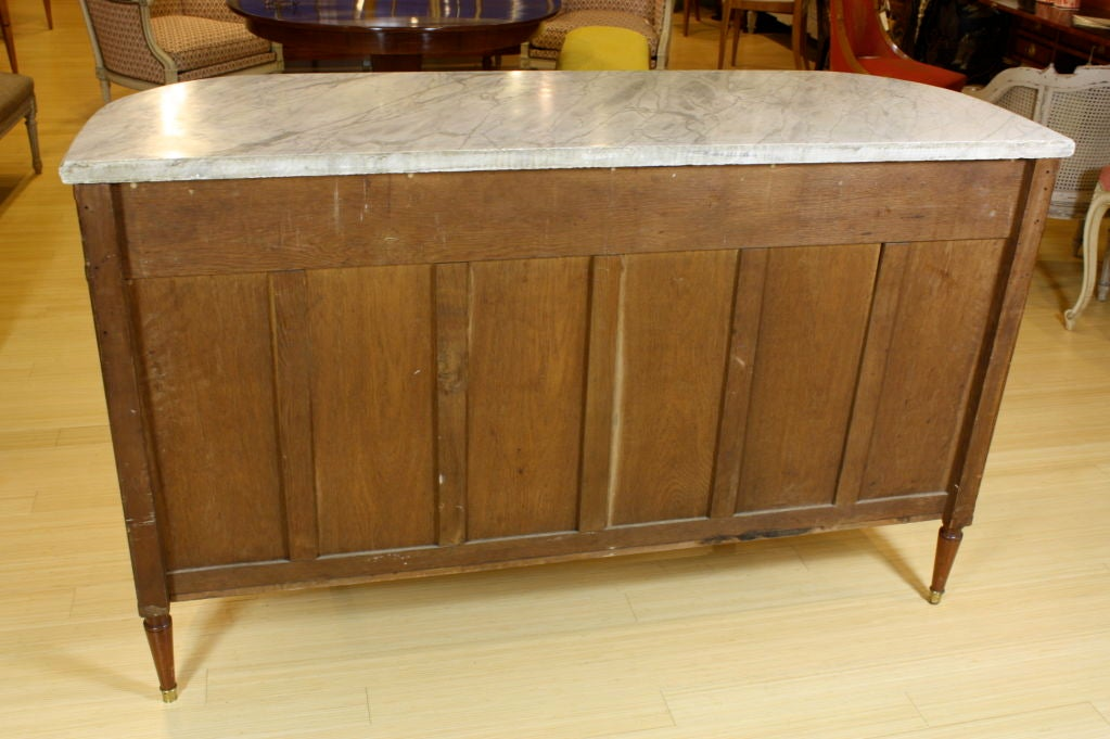 French Louis XVI Style Mahogany Buffet with Grey Marble Top For Sale 4