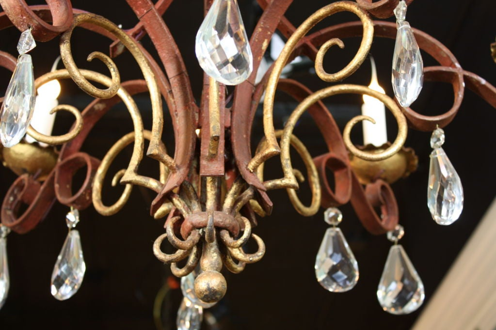 French Iron, Gilt-Tole and Crystal Chandelier For Sale 5