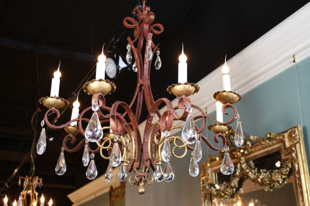 Chinoiserie French Iron, Gilt-Tole and Crystal Chandelier For Sale