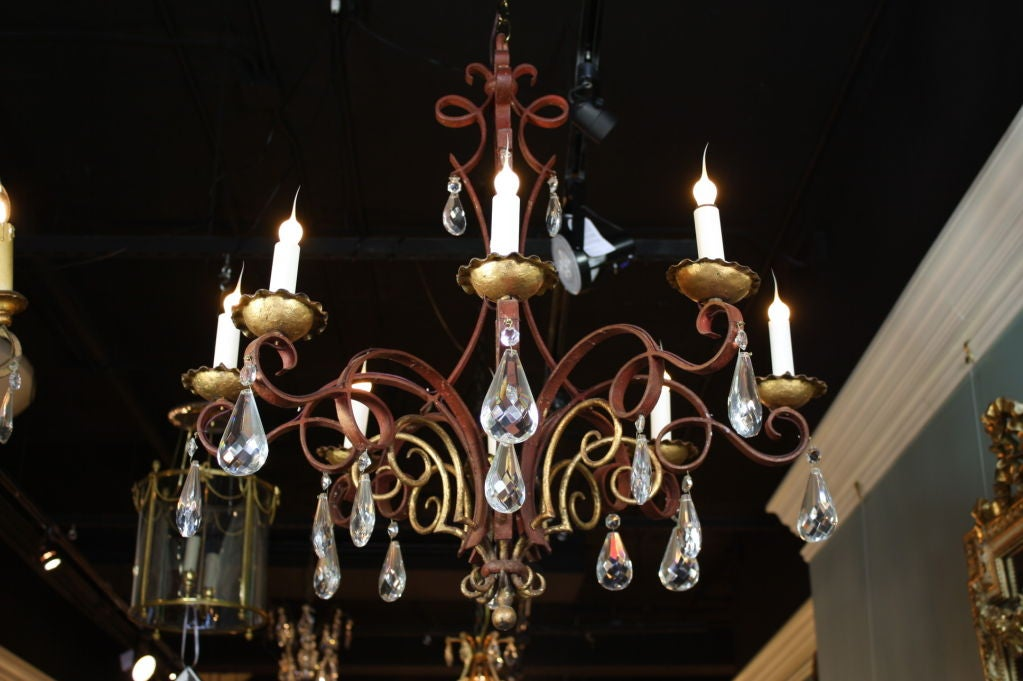 French Iron, Gilt-Tole and Crystal Chandelier In Good Condition For Sale In Pembroke, MA