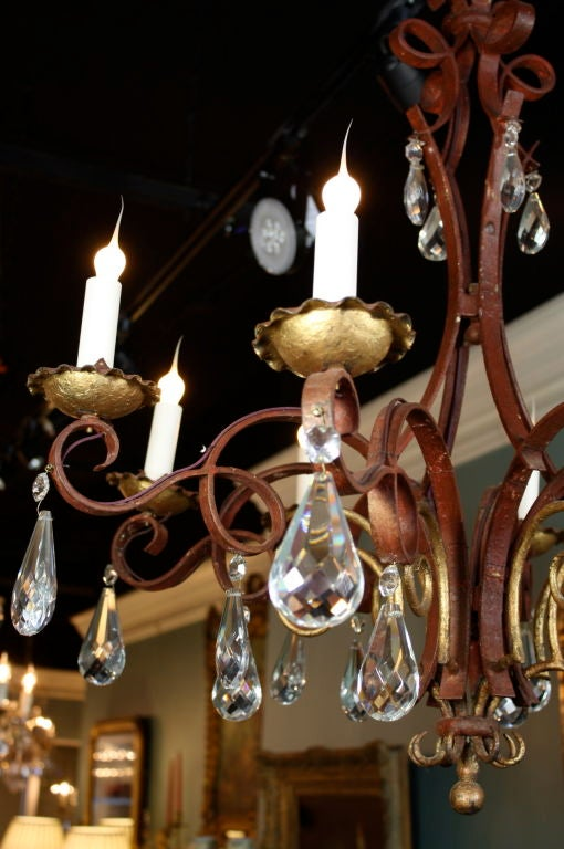 French Iron, Gilt-Tole and Crystal Chandelier For Sale 3