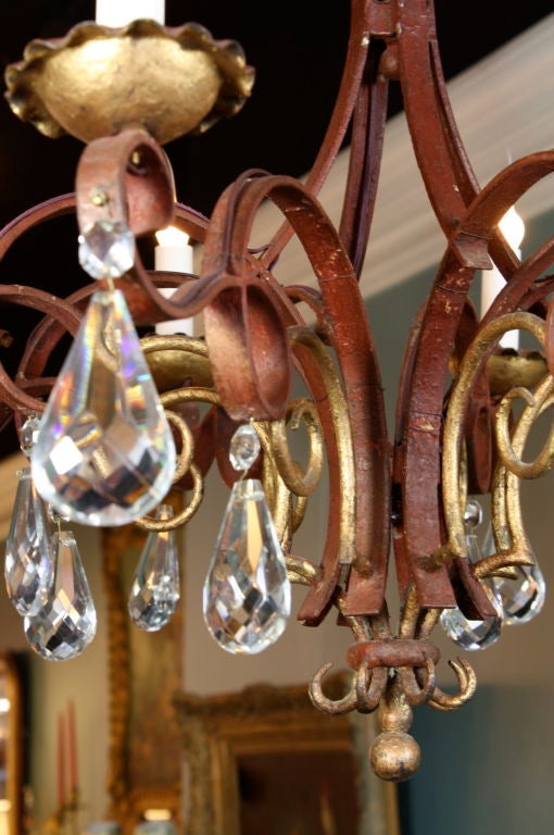 French Iron, Gilt-Tole and Crystal Chandelier For Sale 4