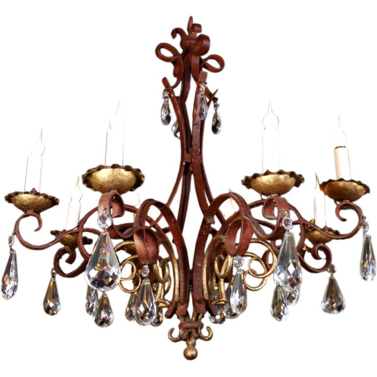 French Iron, Gilt-Tole and Crystal Chandelier For Sale