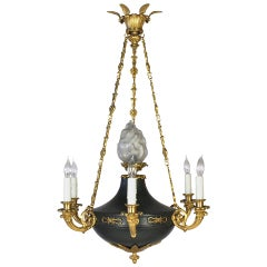 French Empire Style Chandelier with Frosted Glass Flame