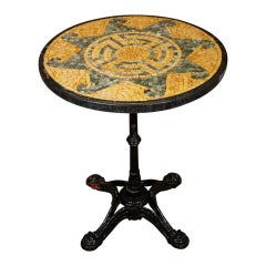 French Bistro Table with Marble Mosaic Top