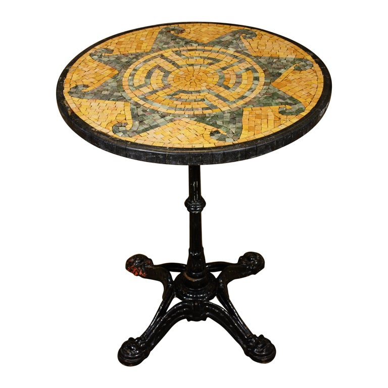 French Bistro Table With Marble Mosaic Top 1