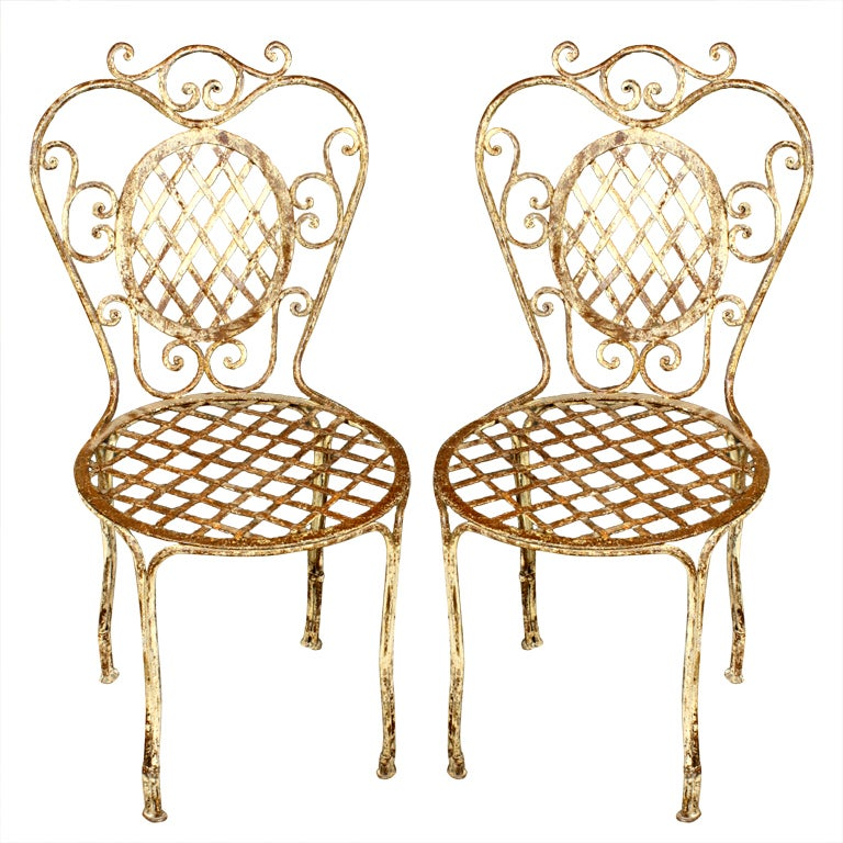 pair of french wrought iron bistro chairs at 1stdibs