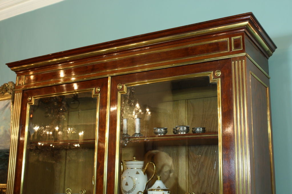 Brass French Louis XVI Style Mahogany Bookcase Bibliotheque For Sale
