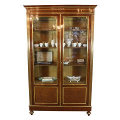 French Louis XVI Style Mahogany Bookcase Bibliotheque