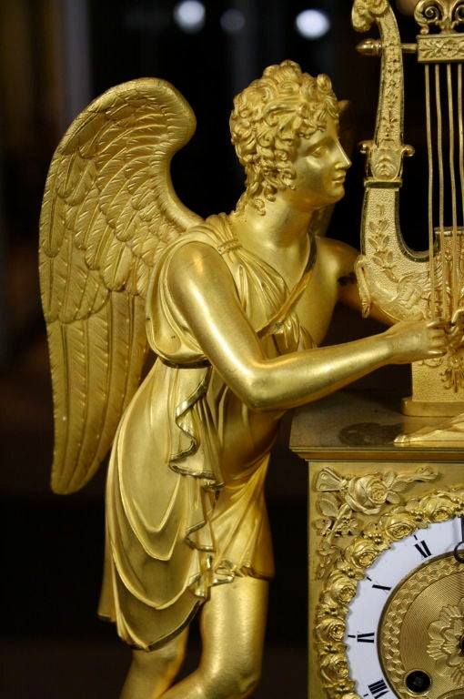 First Empire Exceptional French Empire Period Gilt-Bronze Mantel Clock For Sale