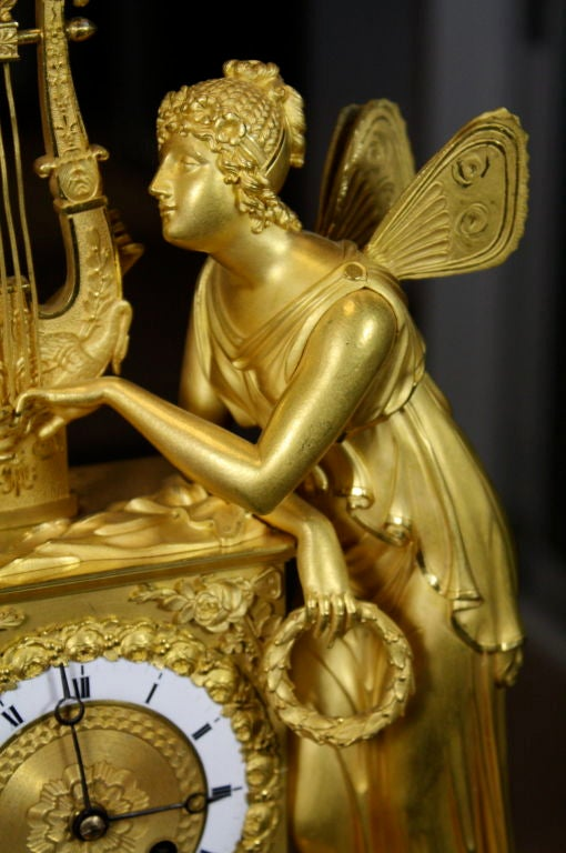 Exceptional French Empire Period Gilt-Bronze Mantel Clock In Excellent Condition For Sale In Pembroke, MA