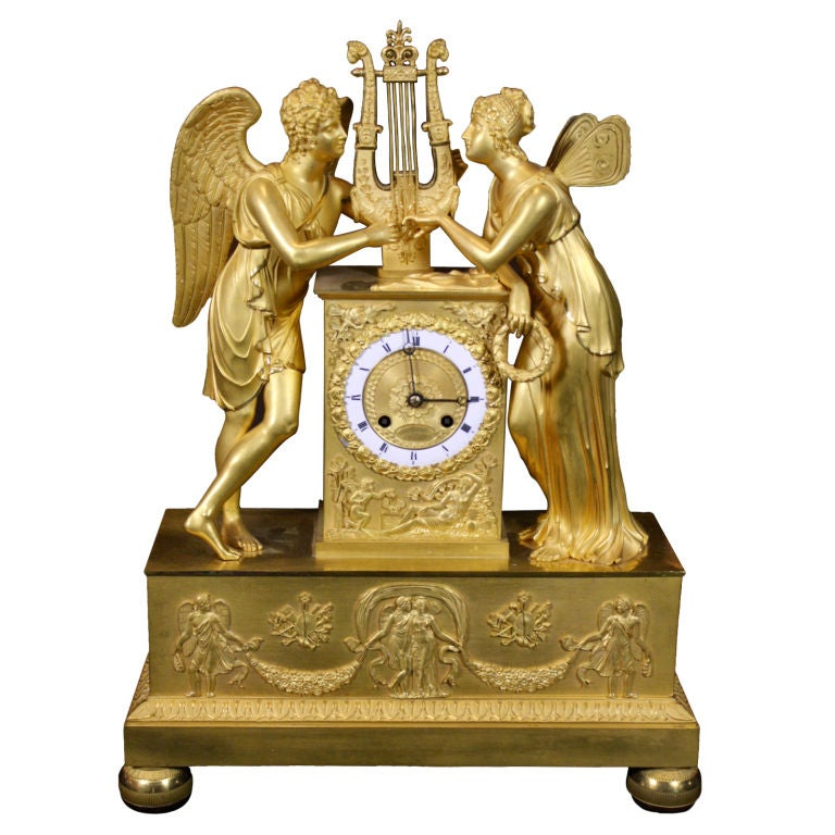 Exceptional French Empire Period Gilt-Bronze Mantel Clock
