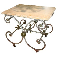 French Iron Baker's Table with Marble Top