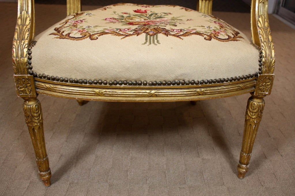 pair of french louis xvi style giltwood fauteuils at 1stdibs. Black Bedroom Furniture Sets. Home Design Ideas
