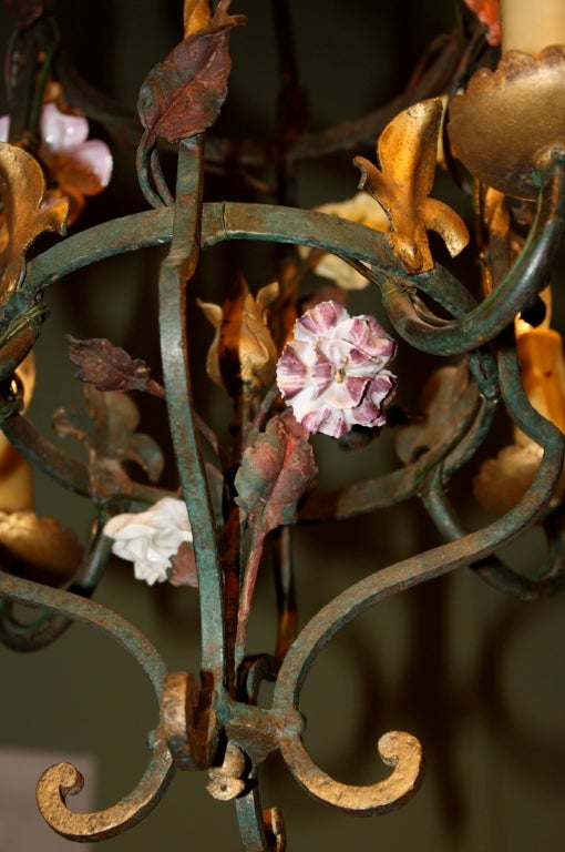 French Iron and Tole Leaf Lantern with Porcelain Flowers For Sale 4